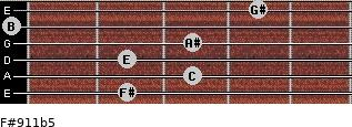 F#9/11b5 for guitar on frets 2, 3, 2, 3, 0, 4