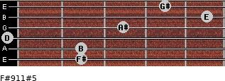 F#9/11#5 for guitar on frets 2, 2, 0, 3, 5, 4