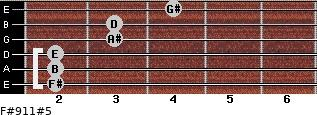 F#9/11#5 for guitar on frets 2, 2, 2, 3, 3, 4