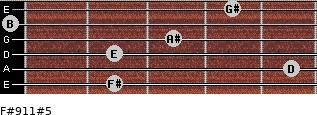 F#9/11#5 for guitar on frets 2, 5, 2, 3, 0, 4