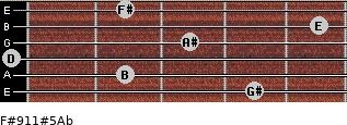 F#9/11#5/Ab for guitar on frets 4, 2, 0, 3, 5, 2