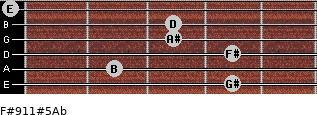 F#9/11#5/Ab for guitar on frets 4, 2, 4, 3, 3, 0