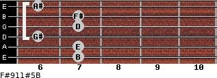 F#9/11#5/B for guitar on frets 7, 7, 6, 7, 7, 6
