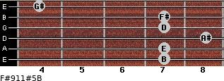 F#9/11#5/B for guitar on frets 7, 7, 8, 7, 7, 4