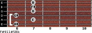 F#9/11#5/Bb for guitar on frets 6, 7, 6, 7, 7, 7