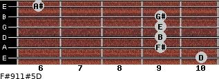 F#9/11#5/D for guitar on frets 10, 9, 9, 9, 9, 6