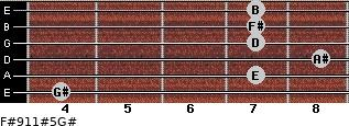 F#9/11#5/G# for guitar on frets 4, 7, 8, 7, 7, 7