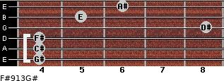 F#9/13/G# for guitar on frets 4, 4, 4, 8, 5, 6