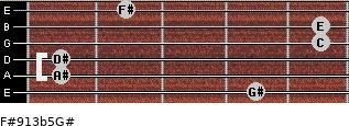 F#9/13b5/G# for guitar on frets 4, 1, 1, 5, 5, 2