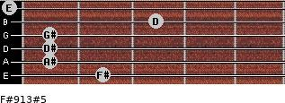 F#9/13#5 for guitar on frets 2, 1, 1, 1, 3, 0