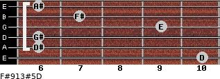 F#9/13#5/D for guitar on frets 10, 6, 6, 9, 7, 6