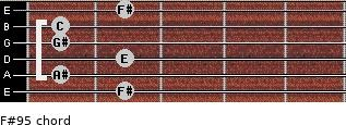 F#9(-5) for guitar on frets 2, 1, 2, 1, 1, 2