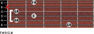 F#9/G# for guitar on frets 4, 1, 2, 1, x, 2