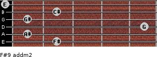 F#9 add(m2) for guitar on frets 2, 1, 5, 1, 2, 0