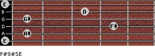 F#9#5/E for guitar on frets 0, 1, 4, 1, 3, 0