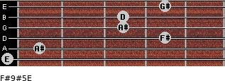 F#9#5/E for guitar on frets 0, 1, 4, 3, 3, 4
