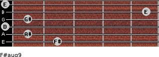 F#aug9 for guitar on frets 2, 1, 0, 1, 5, 0