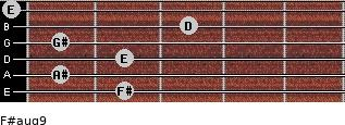 F#aug9 for guitar on frets 2, 1, 2, 1, 3, 0