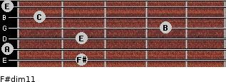F#dim11 for guitar on frets 2, 0, 2, 4, 1, 0