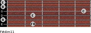 F#dim11 for guitar on frets 2, 0, 2, 5, 0, 0