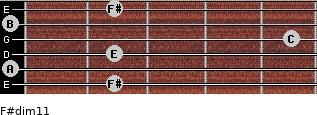 F#dim11 for guitar on frets 2, 0, 2, 5, 0, 2
