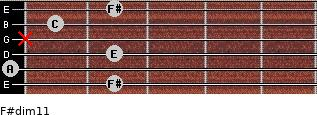 F#dim11 for guitar on frets 2, 0, 2, x, 1, 2