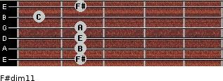 F#dim11 for guitar on frets 2, 2, 2, 2, 1, 2