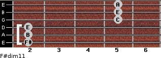 F#dim11 for guitar on frets 2, 2, 2, 5, 5, 5