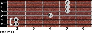 F#dim11 for guitar on frets 2, 2, 4, 5, 5, 5