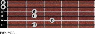 F#dim11 for guitar on frets 2, 3, 2, 2, 0, 0