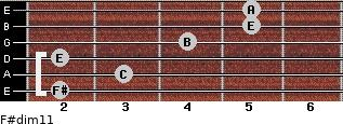F#dim11 for guitar on frets 2, 3, 2, 4, 5, 5