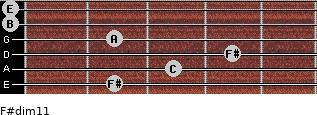 F#dim11 for guitar on frets 2, 3, 4, 2, 0, 0