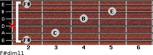 F#dim11 for guitar on frets 2, 3, x, 4, 5, 2