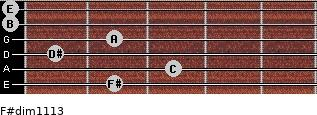 F#dim11/13 for guitar on frets 2, 3, 1, 2, 0, 0