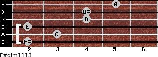 F#dim11/13 for guitar on frets 2, 3, 2, 4, 4, 5