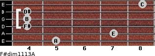 F#dim11/13/A for guitar on frets 5, 7, 4, 4, 4, 8