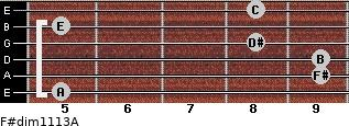 F#dim11/13/A for guitar on frets 5, 9, 9, 8, 5, 8