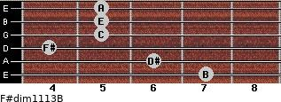 F#dim11/13/B for guitar on frets 7, 6, 4, 5, 5, 5