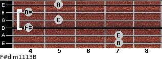 F#dim11/13/B for guitar on frets 7, 7, 4, 5, 4, 5
