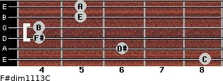 F#dim11/13/C for guitar on frets 8, 6, 4, 4, 5, 5