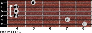 F#dim11/13/C for guitar on frets 8, 7, 4, 4, 4, 5