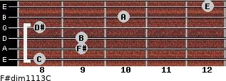 F#dim11/13/C for guitar on frets 8, 9, 9, 8, 10, 12