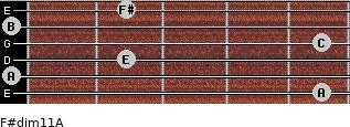 F#dim11/A for guitar on frets 5, 0, 2, 5, 0, 2