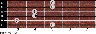 F#dim11/A for guitar on frets 5, 3, 4, 4, 5, 5