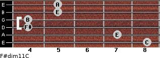 F#dim11/C for guitar on frets 8, 7, 4, 4, 5, 5