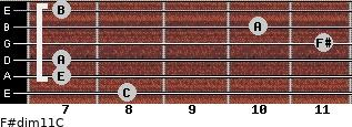 F#dim11/C for guitar on frets 8, 7, 7, 11, 10, 7