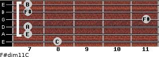 F#dim11/C for guitar on frets 8, 7, 7, 11, 7, 7