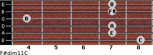 F#dim11/C for guitar on frets 8, 7, 7, 4, 7, 7