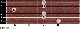 F#dim11/C for guitar on frets 8, 7, 7, 5, 7, 7