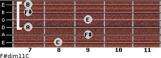 F#dim11/C for guitar on frets 8, 9, 7, 9, 7, 7